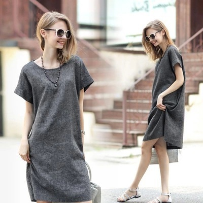 55734554b9 Large size cotton and linen dress Gray was thin simple Casual dresses L XL  XXL 3XL 4XL 5XL Summer clothing for women vetement