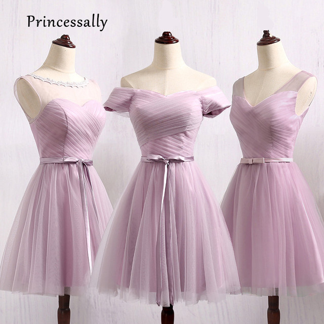 Vestido De Noiva New Lilás Vestido de Dama de honra Curto de Barco Pescoço Plissado  Simples 49b755bc3e63