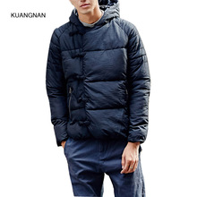 Men China Style Winter Thicken Hooded Jacket Male Fashion Casual Cotton Padded Outerwear Coat Black Parkas Jacket