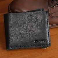 2017 New 100% Genuine Leather Wallet Men Short Wallets Vintage Black Cow Leather Soft Wallets Purse Card Holders Wallets(XW5502)