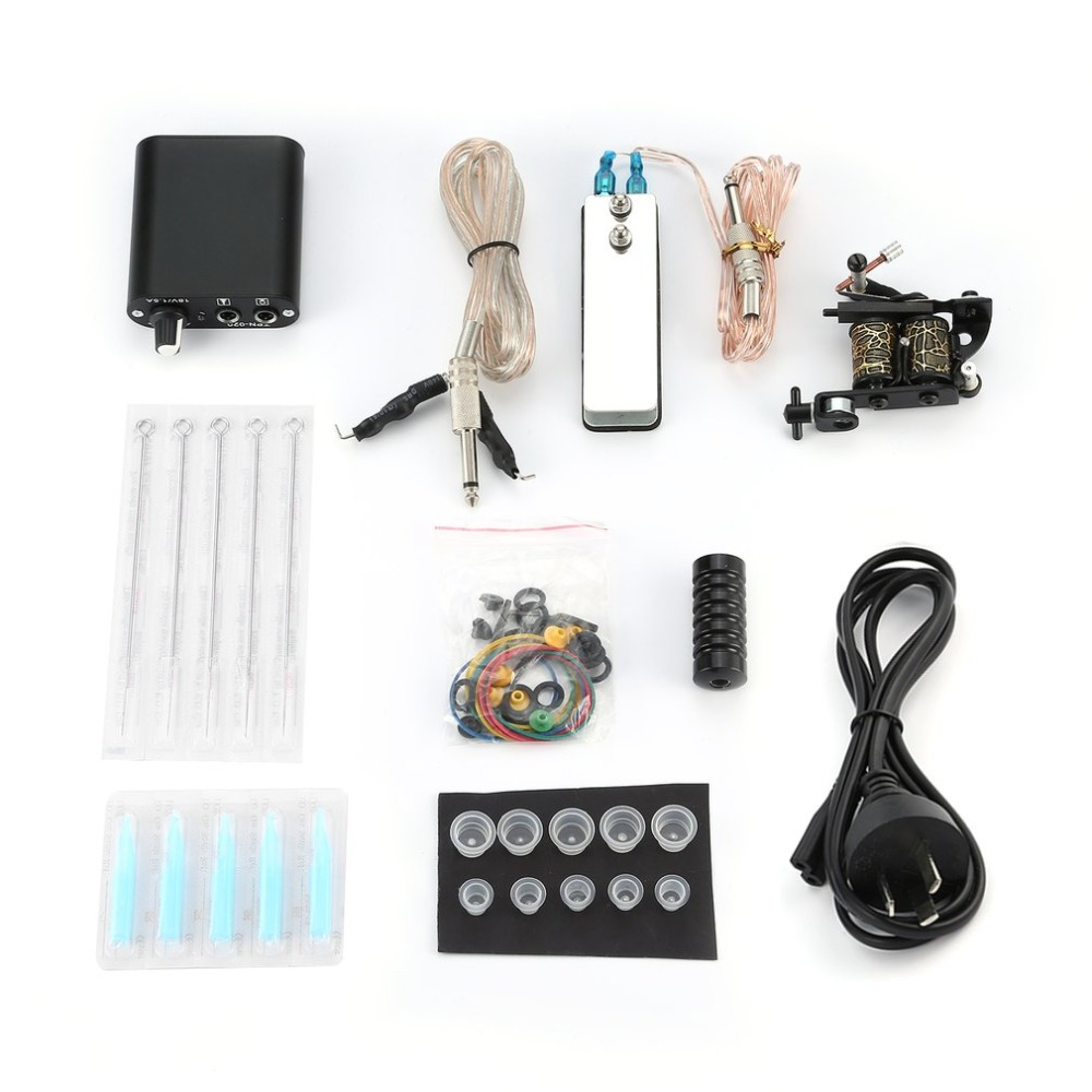 купить Tattoo Complete Beginner Tattoo Kit Pro Machine Inks Power Supply Needle Grips Tips Tatto Accessories Basic Set по цене 1200.84 рублей