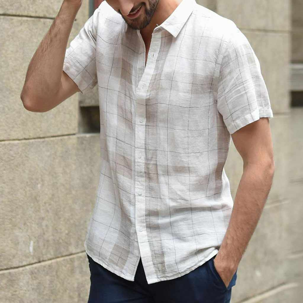 Vogue hombres Casual de manga corta de algodón de lino Plaid camisas de moda Masculina suelta Casual Button-up Camiseta con cuello en V Camisa Social Masculina
