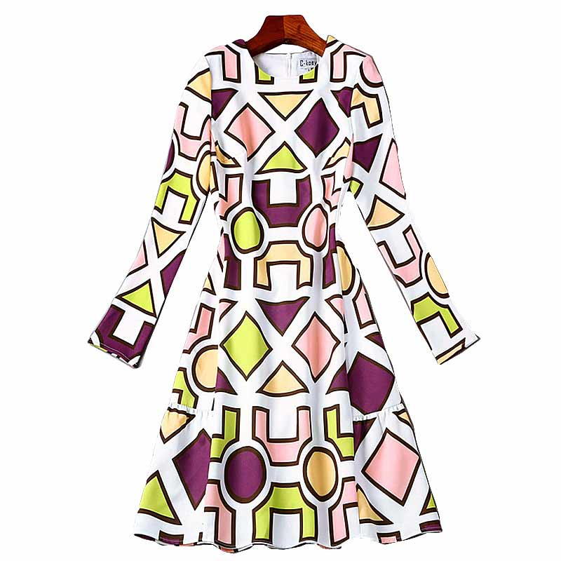 XF New Shop Special High Quality 2017 Runway Designer Dress WomenS Elegant Long Sleeve A-Line Vintage Vitality Printing Dress