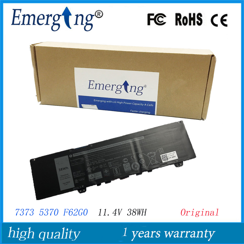 11.4V 38WH New Original Laptop Battery F62G0  For Dell Inspiron 13 5370 7370 7373 Vostro 5370 RPJC3