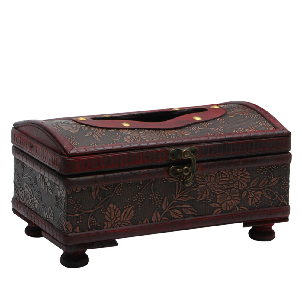 E74 Rectangular Retro Wooden Paper Cover Case Tissue Box Napkin Holder Home Decor China