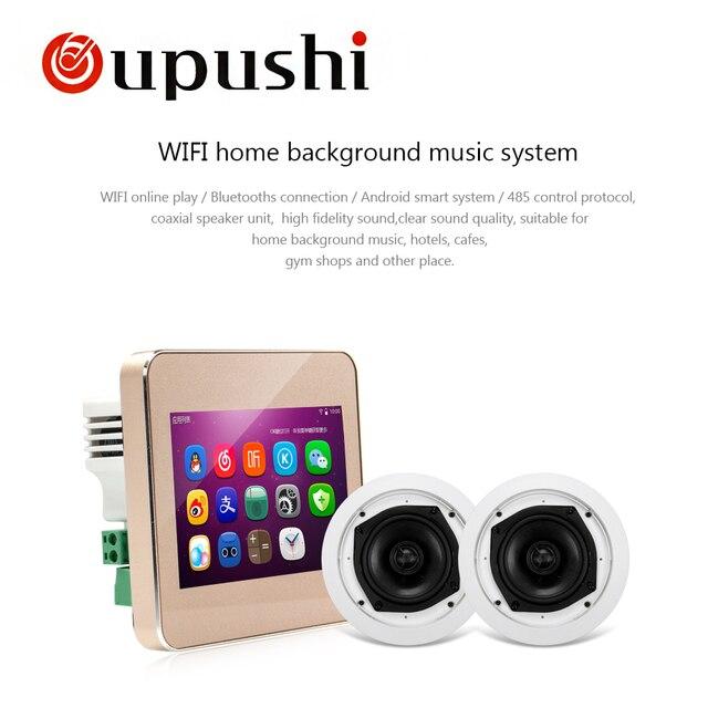 OUPUSHI A5 Audio visual en la pared fondo música teclado Bluetooth de pantalla táctil digital de cine en casa sistema de cine