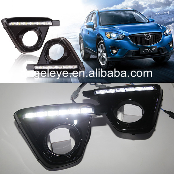 FOR MAZDA CX-5 LED Fog Lights Daytime Running Light 2011-2014 Year Black Housing 2009 2011 year golf 6 led daytime running light