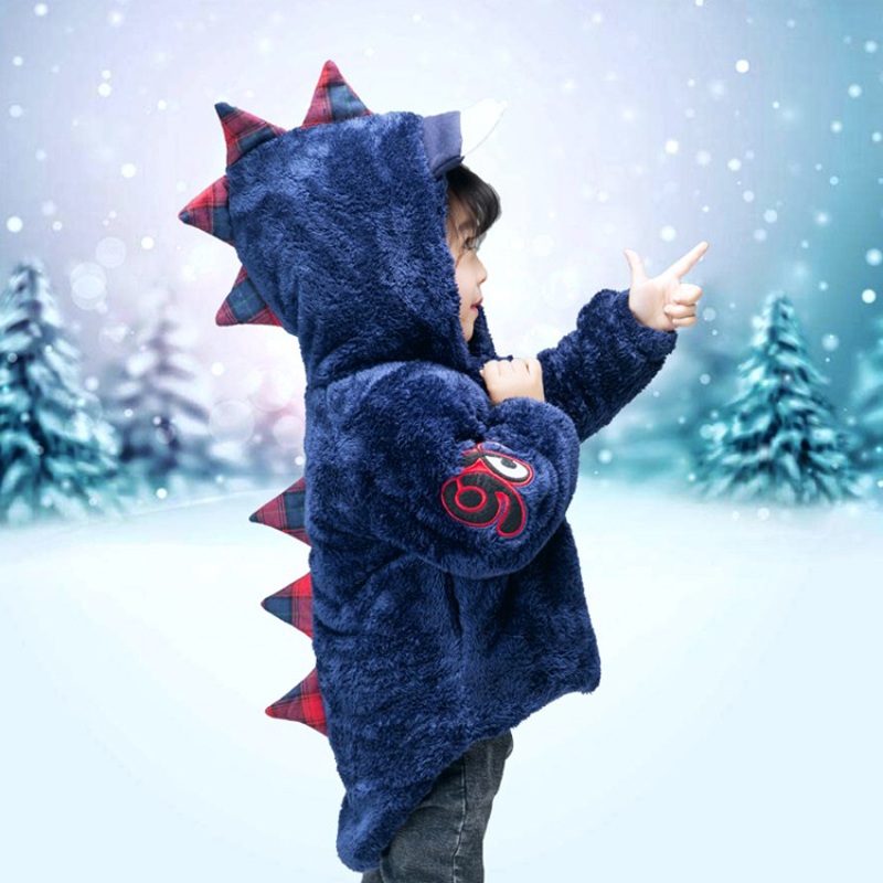 Girls Winter Coat Wild-Jacket Boys Kids Children's Dinosaur Warm Cartoon Hooded for Cute