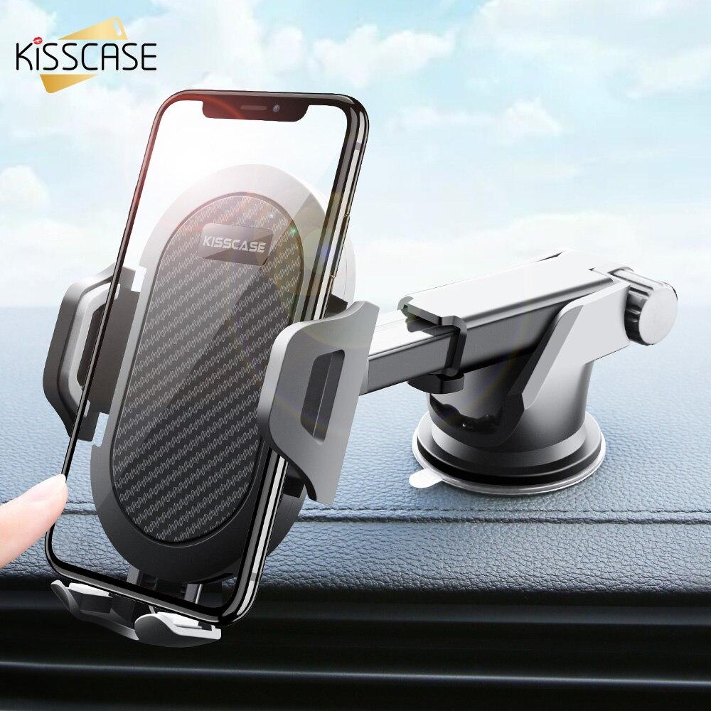 KISSCASE Auto Telefon Halter Für iPhone Einstellbare Halter Für Telefon in Auto Windschutzscheibe Stehen Auto Mobile Unterstützung Smartphone Voiture