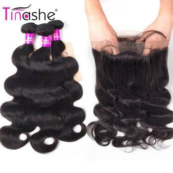 Mèches Lace Frontal wig 360 péruviennes Remy-Tinashe Hair, cheveux naturels, Body Wave, lots de 2 3