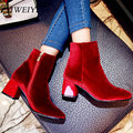 AIWEIYi Outono Inverno Sapatos Mulheres Rebanho Moda Senhoras Botas Grossas Ankle Boots de Salto Alto Plataforma Do Partido Sapatos Tamanho 34-43