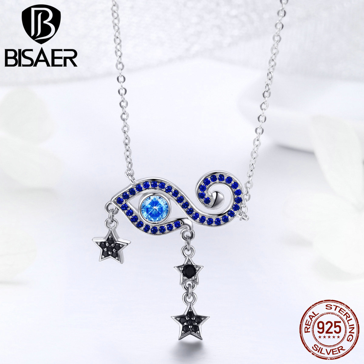 BISAER Genuine 925 Sterling Silver Blue CZ Magic Eye Stars Pendant & Necklace Chain Link Necklaces Collier Silver Jewerly GXN245