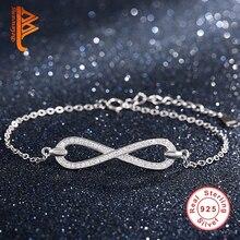 100% de plata de ley 925 micro pave crystal infinito pulsera para las mujeres encantos de la cadena de enlace brazalete de la pulsera joyas auténticas