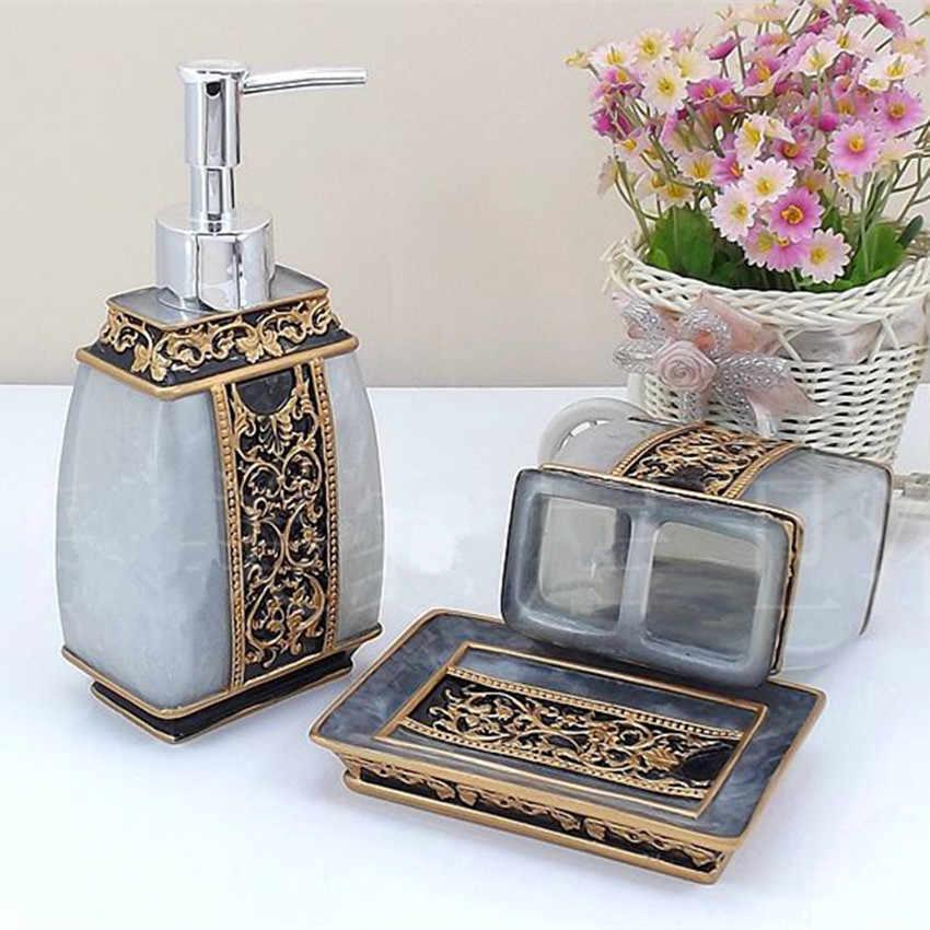 W stylu Vintage Luxorious akcesoria łazienkowe zestaw 5 sztuk zestaw żywicy BathroomSsupplies zestawy Empaistic urządzone biznes pudełko upominkowe