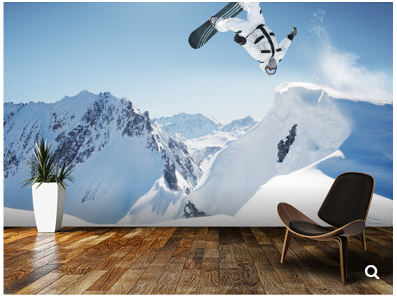 Custom landscape wallpaper,Snowboard Jumping in high mountains,3D mural for living room bedroom TV backdrop waterproof wallpaper free shipping custom modern 3d mural bedroom living room tv backdrop wallpaper 3d flower vine landscape