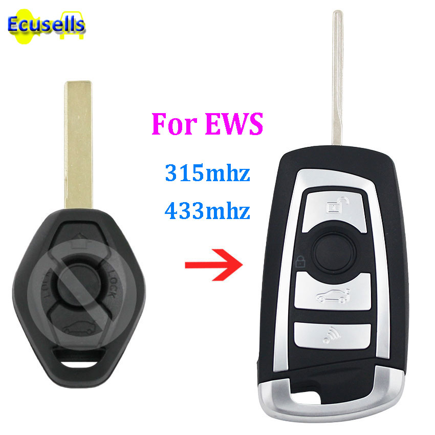 5pcs/lot Modified flip 3 Button 315MHZ 433MHZ remote key fob for BMW EWS 325 330 318 525 530 540 E39 E46 M5 X3 X5 HU92 NO CHIP(China)
