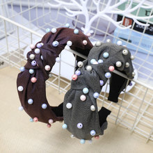 Fioday New Center Knot Wide Hairband with Pearl Solid Color Knotted Elegent Hoops for Women Hair Accessories