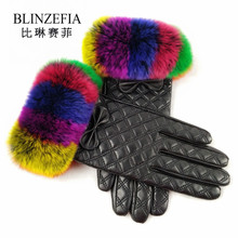 Фотография 2017 New Arrival Winter Genuine Sheep Leather Pad Screen Touch Women Gloves Multi-colors Rabbit Fur Mittens Guantes Femme BZ8001