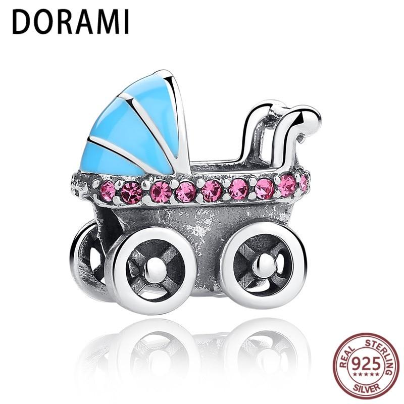 Angemessen Dorami Baby Kinderwagen Blau Auto Charms Fit Marke Armband Neue Frühjahr Sammlung 925 Sterling Silber Diy Zubehör Schmuck ZuverläSsige Leistung