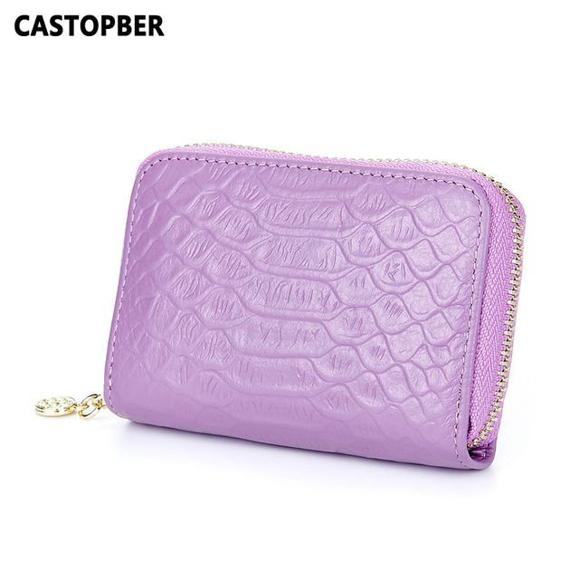 Business Card Holder ID Credit Case Coin Purse Cowhide Genuine Leather Women's Organ Crocodile Designer Unisex Mens High Quality