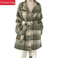 Корейский Для женщин зеленые клетчатые Обувь с овечьей шерстью пальто Зимний Тренч девушку 2018 женский с длинным рукавом шерстяное пальто р