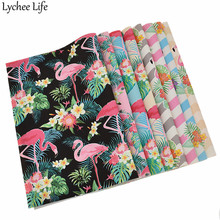 Lychee Life A4 Flamingo Leather Fabric Colorful PVC DIY Home Garment Sewing Cloth Accessories