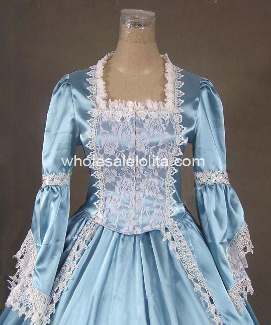 Women's Clothing 18th Century Theme Dress Blue And Black Marie Antoinette Period Dress Renaissance Performance Clothing