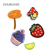 DOUBLEHEE Plant Lotus Leaf Mushrooms Fruit Embroidered Iron On Patches Design Beauty Patch Badges diy accessories