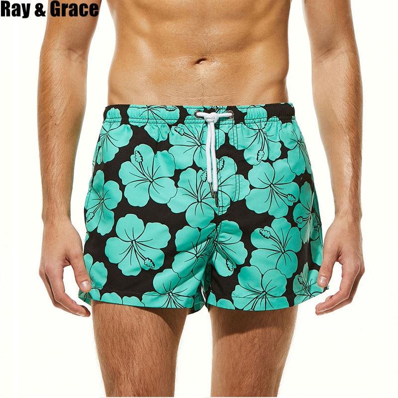 RAY GRACE Men   Board     Shorts   Quick Dry Bermudas Beach   Shorts   Breathable Surf Swimsuit Men   Shorts   Beach Boardshorts Men Swimwear