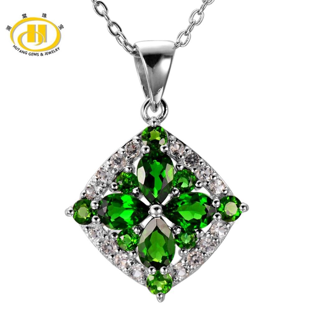 Здесь продается  Hutang 2.59Ct Natural Chrome Diopside Topaz Gemstone Pendant Solid 925 Sterling Silver Necklace Fine HuTang Jewelry  Ювелирные изделия и часы