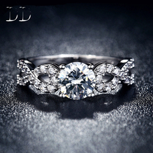 CZ diamond jewelry wedding engagement rings for women white gold filled jewelry luxury vintage bague for lady Accessories DD099
