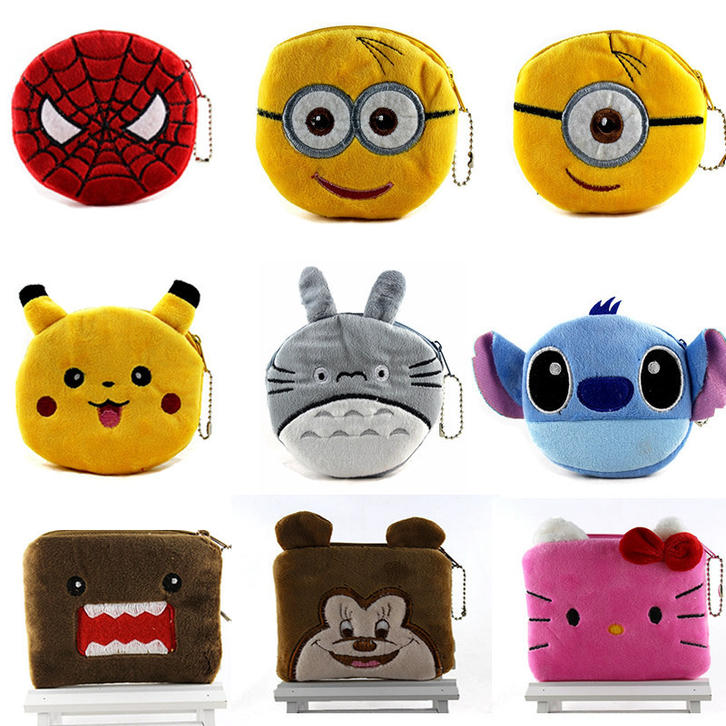 Hot On Sale Kawaii Cartoon Spiderman/Unicorn Children Plush Coin Purse Zip Change Purse Wallet Kids Girl Women For Gift yiyohi hot sale kawaii cartoon spirited away children plush coin purse zip change purse wallet kids girl women for gift