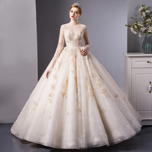SL 6103 ลูกไม้สีทองหรูหราแขนยาว Ball gown ชุดแต่งงานชุดเจ้าสาวงานแต่งงาน gowns Royal รถไฟ
