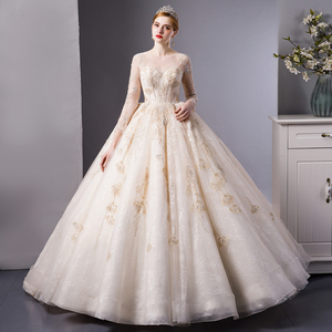 Image 1 - SL 6103 Gold Lace luxury long sleeves ball gown wedding dress bridal dresses wedding gowns royal train