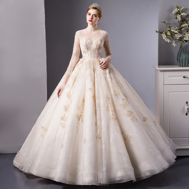 SL 6103 Gold Lace luxury long sleeves ball gown wedding dress bridal dresses wedding gowns royal train