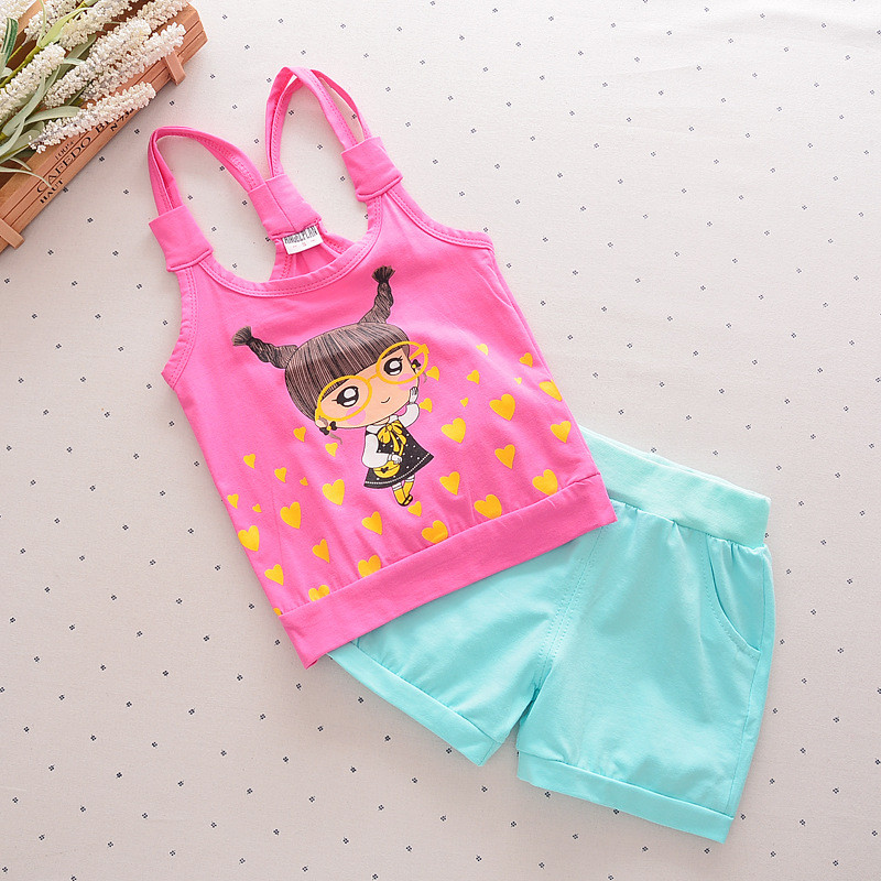 Baby Girls Sets 2018 Summer Cute Cartoon Vest T-shirts + pants Cotton Sleeveless O-neck Kids Tops Clothing costume 2 piece Cs036 hot sale 2016 kids boys girls summer tops baby t shirts fashion leaf print sleeveless kniting tee baby clothes children t shirt