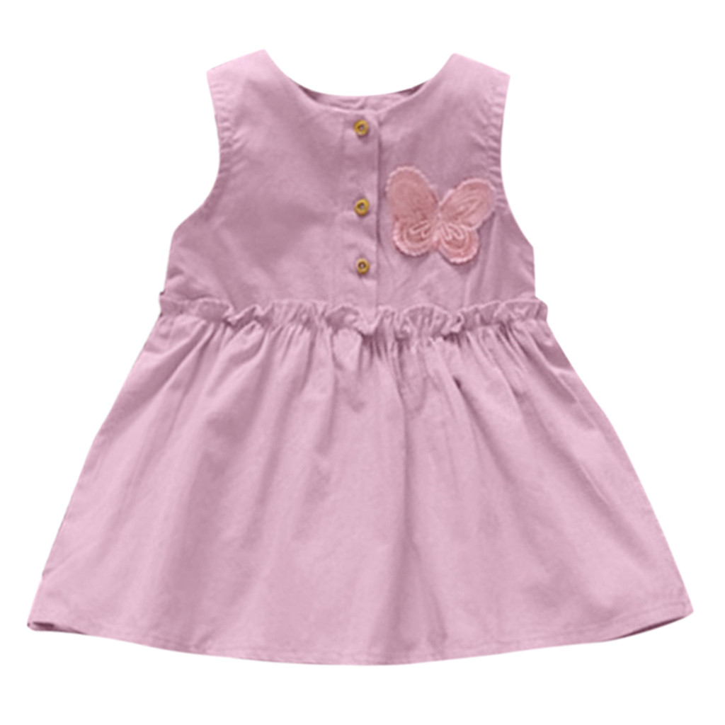 TELOTUNY Fashion Toddler Kids Baby Girls Solid Sleeveless Butterfly Dress Sundress Princess Dress    2019 Newst Baby Dress Z0208