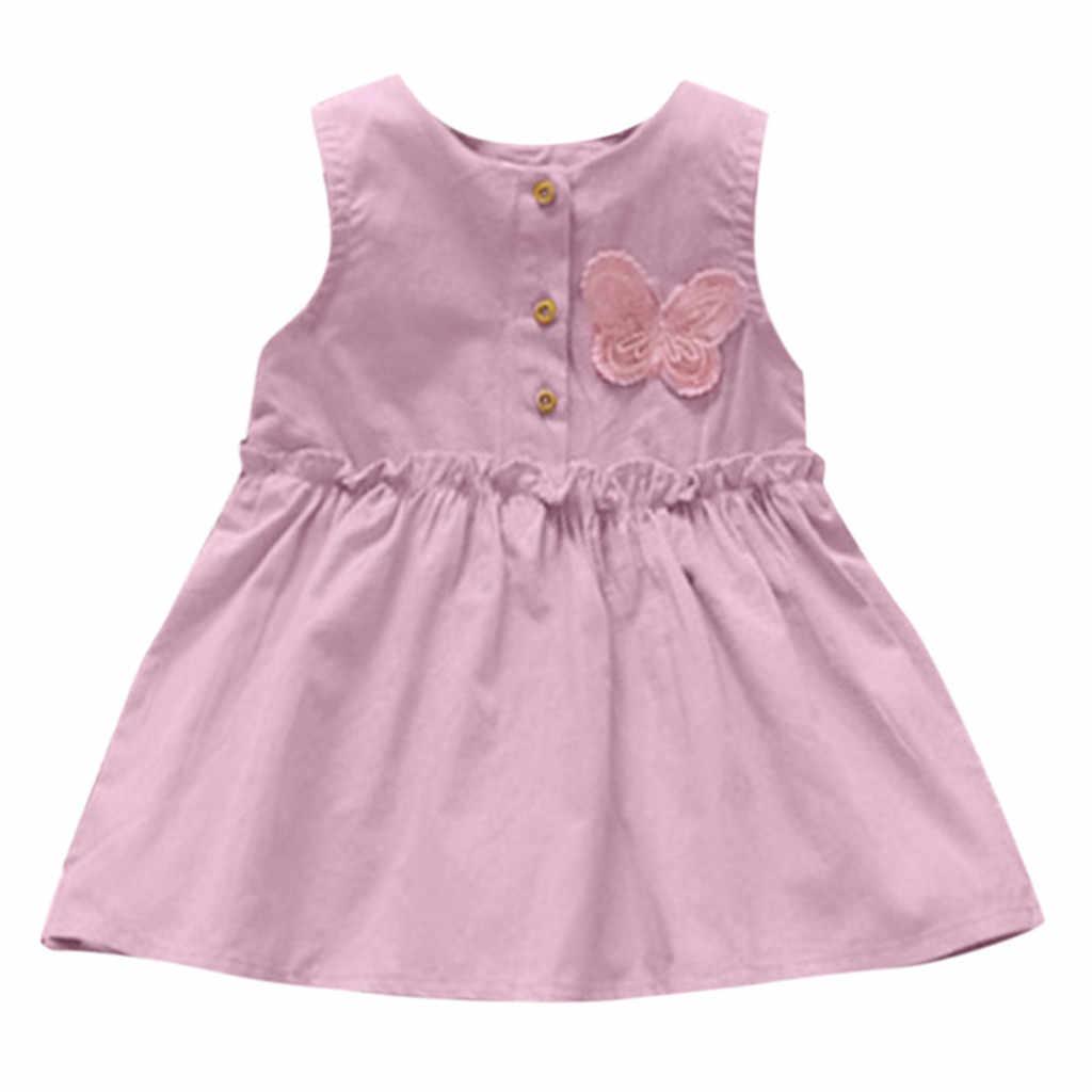 TELOTUNY אופנה פעוט ילדי תינוק בנות מוצק ללא שרוולים פרפר שמלת נסיכת שמלה קיצית שמלת 2019 newst תינוק שמלת Z0208