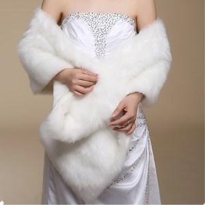 Image 3 - Ruthshen nowy Ivory Faux futro Bridal szal do opatulania się peleryna Stole Bolero rzut płaszczyk na ramiona DS0817