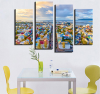 4 piece Wall Paintings Home Decorative Modern view of Reykjavik in Iceland combination Paintings for home creative idea decor