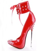 Fashion 160MM Sky High Heel Pumps Red Black Patent Leather Studded Heel Shoes Pointed Toe Metal
