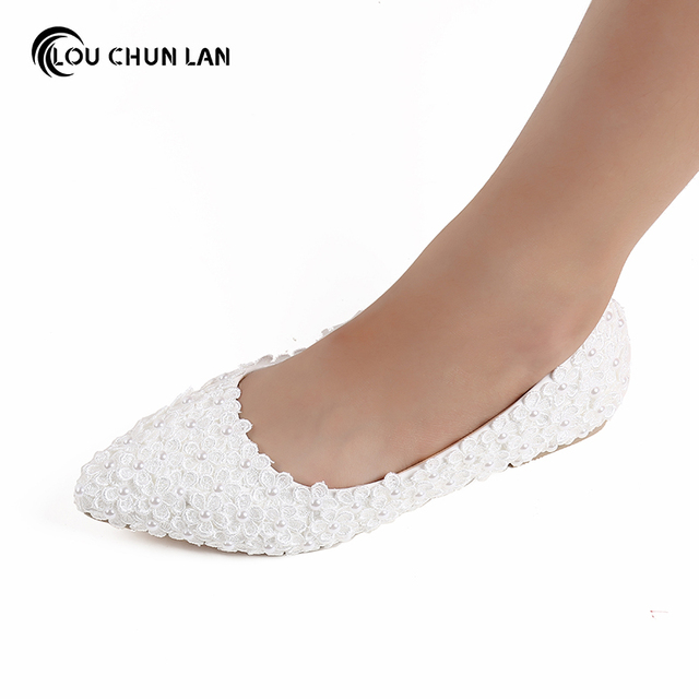 225f24f3fe42 LOUCHUNLAN Women Flat white Flower Wedding Shoes shallow mouth pointed Toe  Shoes bridal Shoes Free Shipping large size 40-45