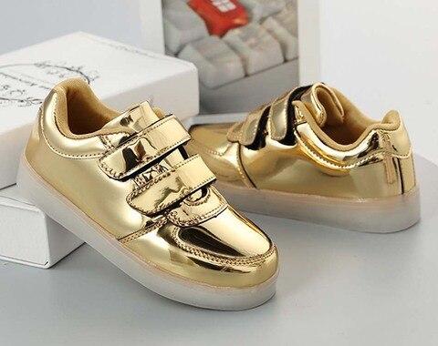 kashiluo criancas levaram sapatos sneakers criancas gancho loop de carregamento usb moda luminosa sapatos das