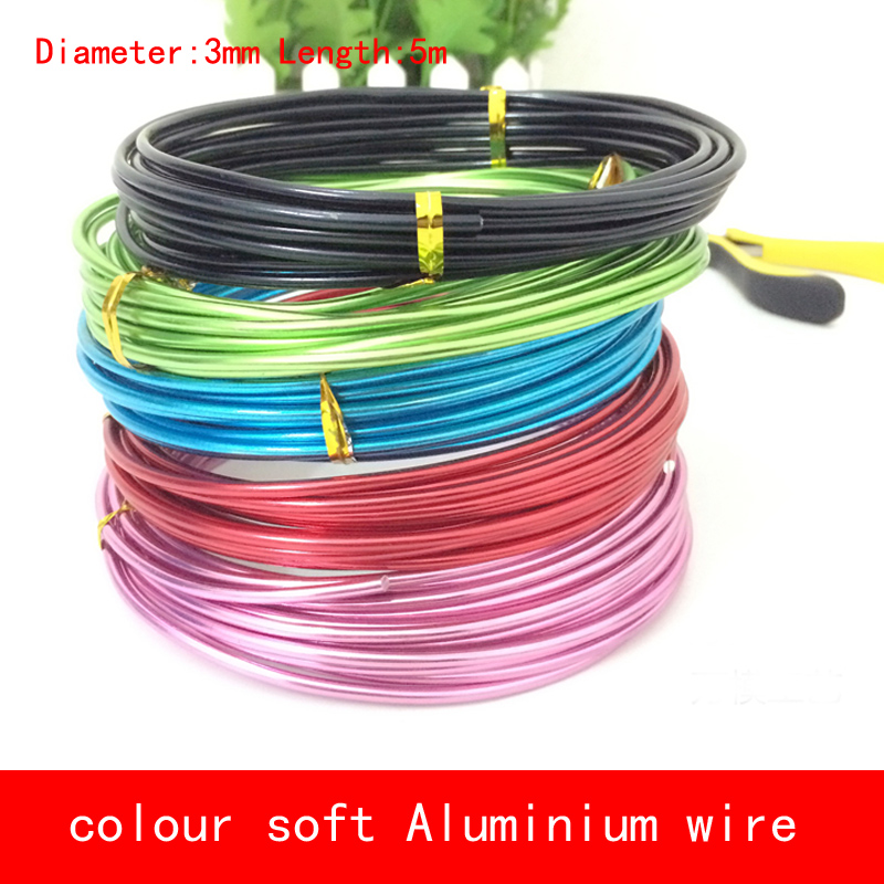 Diameter 3mm Length 5 Meter Aluminum Wire Soft Black Gold Blue Sliver Red Color Al Wire For Lab Diy Horticultural Model Delaying Senility