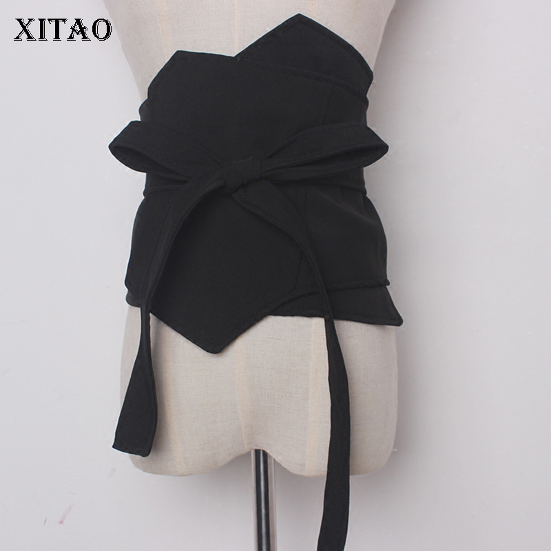 [XITAO] 2018 Europe New Arrival Casual Women Solid Color Elastic Bandage Cummerbunds Female Casual Cummerbunds GWY1927