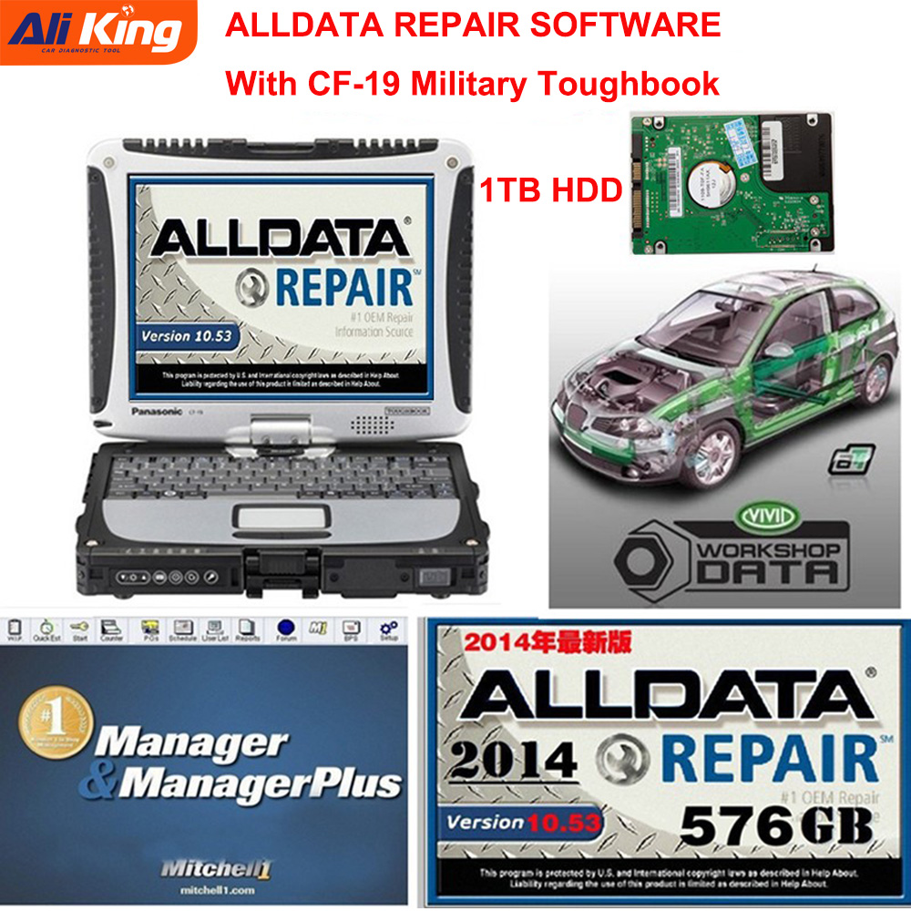 Auto Repair Software Alldata 10.53 Autodata Mitchell 2015 Car Repair Software 50 In 1TB HDD With CF-19 Toughbook Diagnose PC
