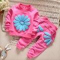 BibiCola primavera outono crianças menina conjunto de roupas esportes das meninas do bebê camiseta girassol traje roupa dos miúdos terno agasalho outwear