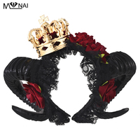 Handmade Halloween Adult Devil horns Red Floral Headband Fancy Dress Crown Hairband Ladies Goth Headpieces Costumes Steampunk