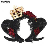 Handmade Halloween Adult Devil horns Red Floral Headband Fancy Dress Crown Hairband Ladies Goth Headpieces Costumes Steampunk