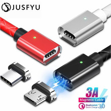 JUSFYU Magnetic Cable Micro usb Type C Fast Charging Adapter Phone Microusb Type-C Magnet Charger usbc For iphone Samsung xiaomi
